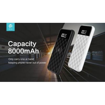 Power bank 8000 mAh Wireless con Display standard Qi Bianco