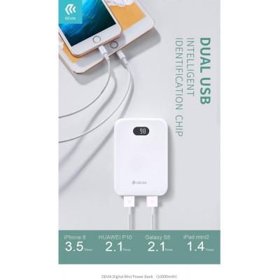 Mini Power Bank con Display Digitale 10.000 mAh Bianco
