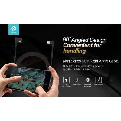 Cavo King USB - Lightning ad angolo 90° Nero