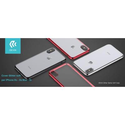 Cover Glitter soft con bordo Rosso per iPhone Xs 5.8