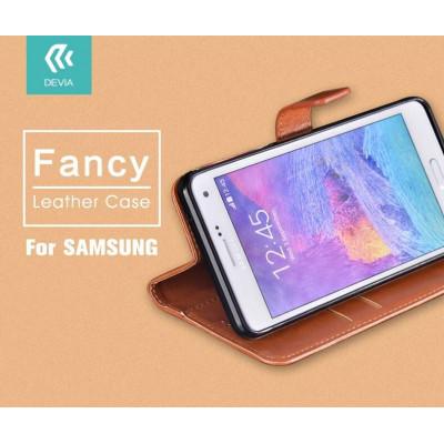 Cover a Libro in Pelle Marrone Fancy per Samsung J1 2016