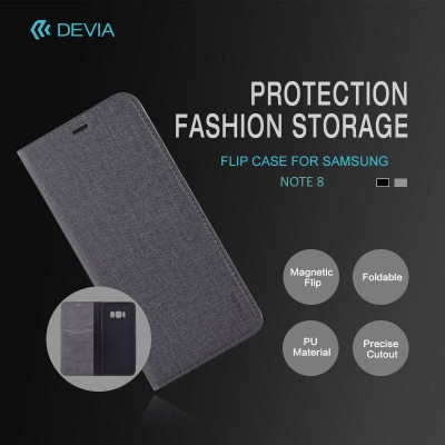 Cover Flip Case Devia per Samsung Note 8 Grigia
