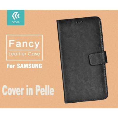 Cover a Libro in Vera Pelle Nera Fancy per Samsung Galaxy S7