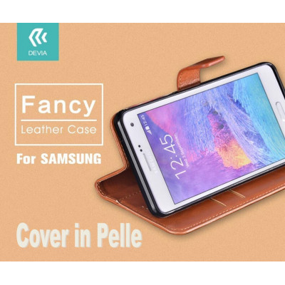 Cover a Libro in Pelle Marrone Fancy per Samsung Galaxy S7