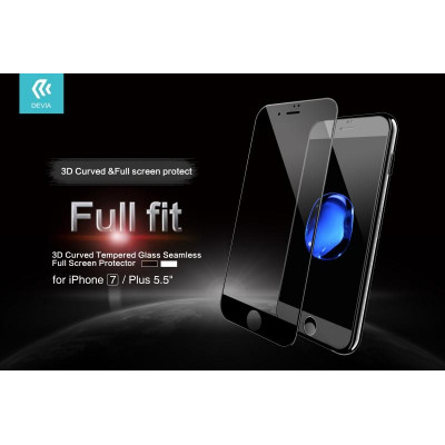 Pellicola vetro temperato Full Screen 3D per iPhone 7 Nera