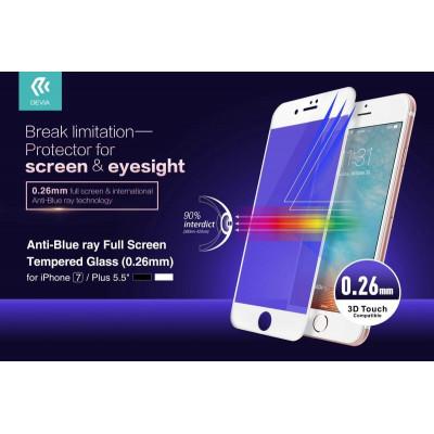 Anti-Blue Ray Full Vetro Temperato per iPhone 7 Plus Bianca