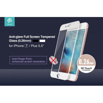 Pellicola vetro Anti Impronte Full per iPhone 7 Plus Bianca