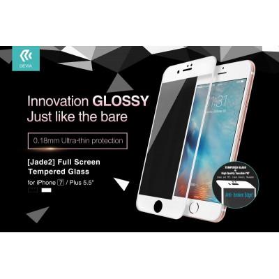 Jade2 Vetro Temperato 0.18mm Full per iPhone 7Plus Bianca