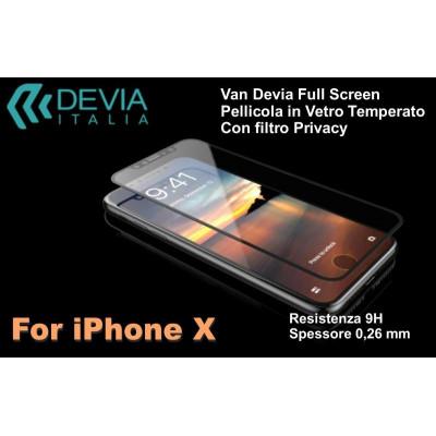 Pellicola Vetro Temperato Full Screen Privacy per iPhone X