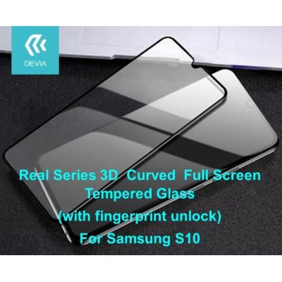 Pellicola in Vetro Temperato Full 3D per Samsung S10 Nera