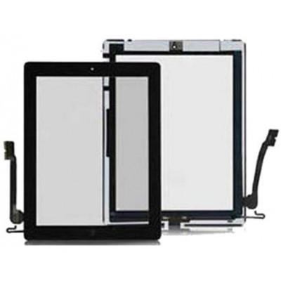 Touch Panel con Pulsante e adesivo per iPad 4 Nero AAA+