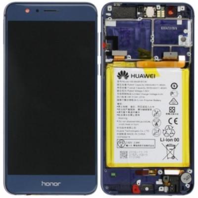 Lcd Con Frame e Batteria 02350USN Honor 8 Originale Blu