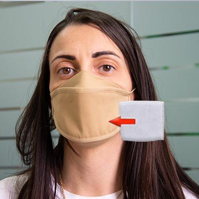 Mascherina in cotone lavabile Porta-Filtro Beige TG:L