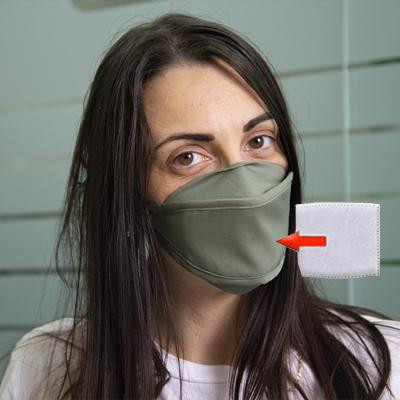 Mascherina in cotone lavabile Porta-Filtro Verde Scuro TG:S