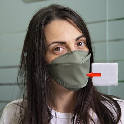 Mascherina in cotone lavabile Porta-Filtro Verde Scuro TG:XS