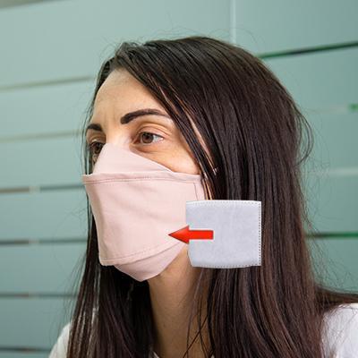 Mascherina in cotone lavabile Porta-Filtro Rosa TG:S
