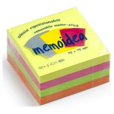 MEMOIDEA 76x76 mm colori neon assortiti - 400 fogli