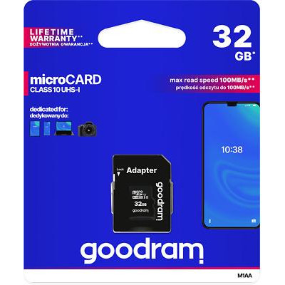 microSD 32GB CARD class 10 UHS I + adapter - retail blister