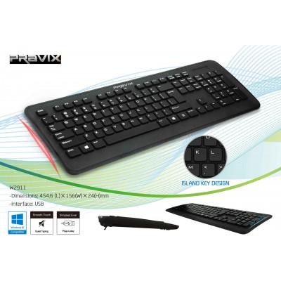 Tastiera Pravix ergonomica slim con cavo USB - retail box