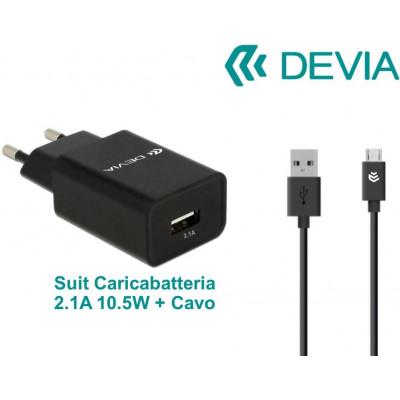 Suit Carica Batteria 2,1A e Cavo m-usb Android Nero